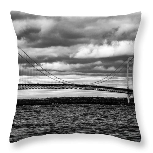 Black And White Throw Pillow featuring the photograph Mackinaw Black And White by Sheri Bartoszek