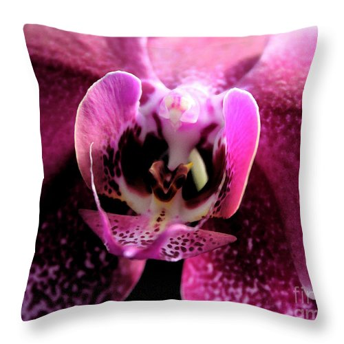 Flowers Throw Pillow featuring the photograph Macro Magenta Orchid by Mary Haber