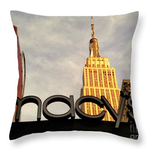 Macy's Throw Pillow featuring the photograph Macy's With Empire State Building - Famous Buildings And Landmarks Of New York City by Miriam Danar