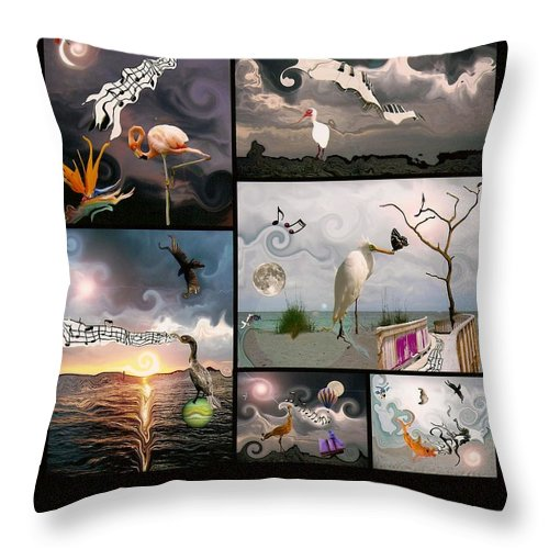 Birds Throw Pillow featuring the photograph Mad World Series Collage by Amanda Vouglas