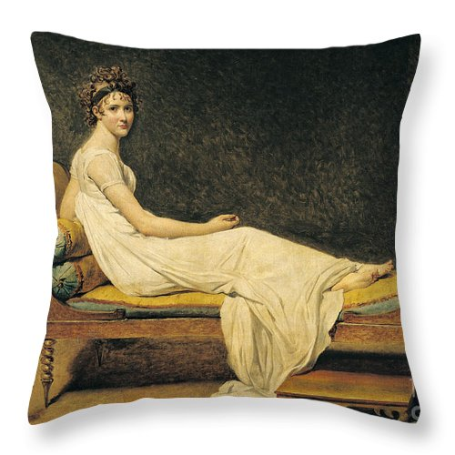 Portrait Throw Pillow featuring the painting Madame Recamier by Jacques Louis David