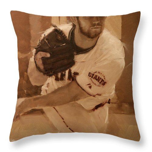 Madison Bumgarner Throw Pillow featuring the painting Madbum 2012 by Darren Kerr