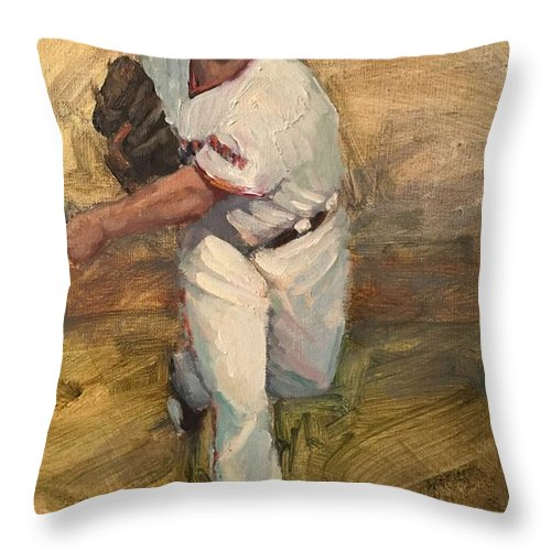 Madison Bumgarner Throw Pillow featuring the painting Madbum Warmup Sketch by Darren Kerr