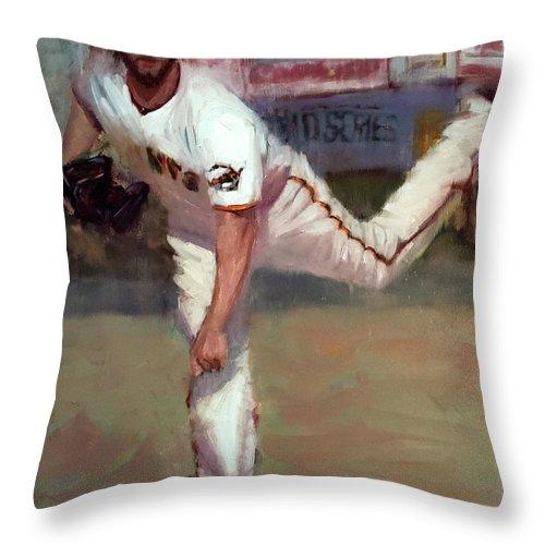 Madison Bumgarner Throw Pillow featuring the painting Madbum World Series MVP by Darren Kerr