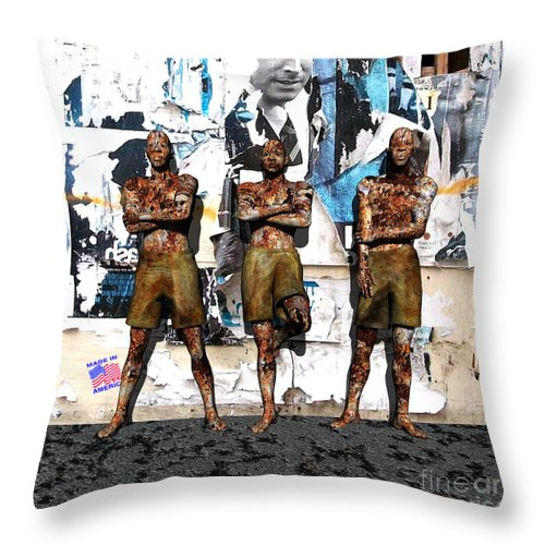 Figures Throw Pillow featuring the digital art Made In America by Walter Neal