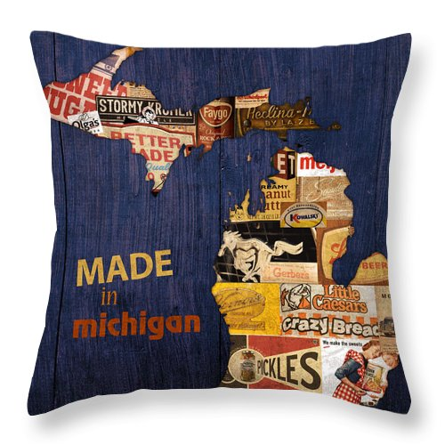 Made In Michigan Products Vintage Map On Wood Kelloggs Better Made Faygo Ford Chevy Gm Little Caesars Strohs Pioneer Sugar Lazy Boy Detroit Lansing Grand Rapids Flint Mustang Meijer Olgas Vernors Gerber Kowalski Sausage Corn Flakes Throw Pillow featuring the mixed media Made In Michigan Products Vintage Map On Wood by Design Turnpike