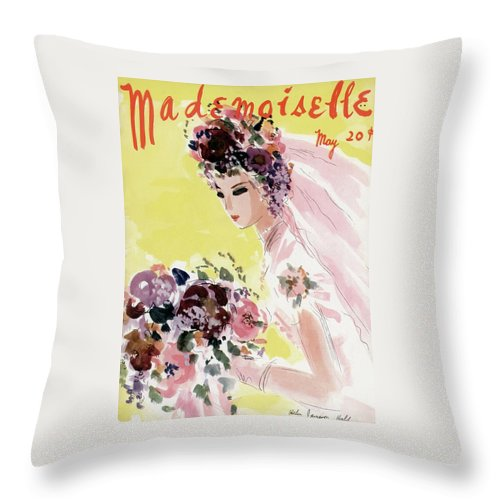 Illustration Throw Pillow featuring the photograph Mademoiselle Cover Featuring A Bride by Helen Jameson Hall