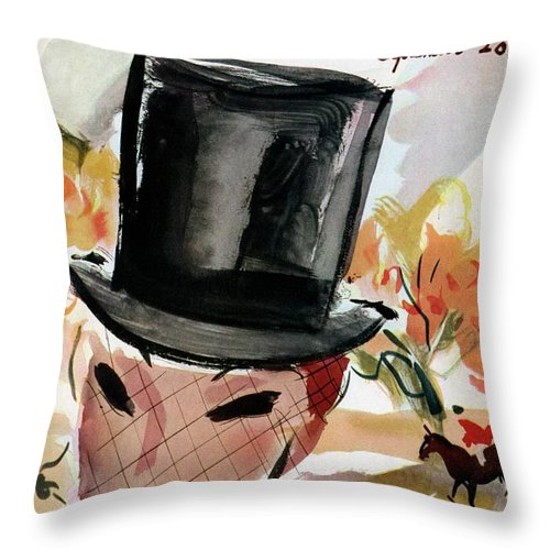 Illustration Throw Pillow featuring the photograph Mademoiselle Cover Featuring A Female Equestrian by Helen Jameson Hall