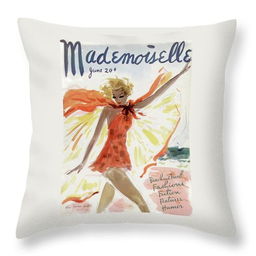 Illustration Throw Pillow featuring the photograph Mademoiselle Cover Featuring A Model At The Beach by Helen Jameson Hall