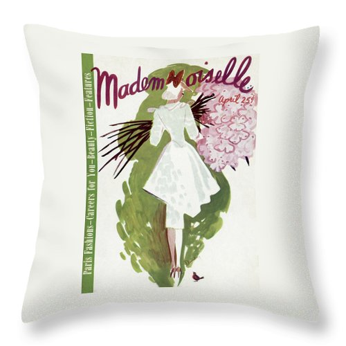 Fashion Throw Pillow featuring the photograph Mademoiselle Cover Featuring A Woman Carrying by Elizabeth Dauber