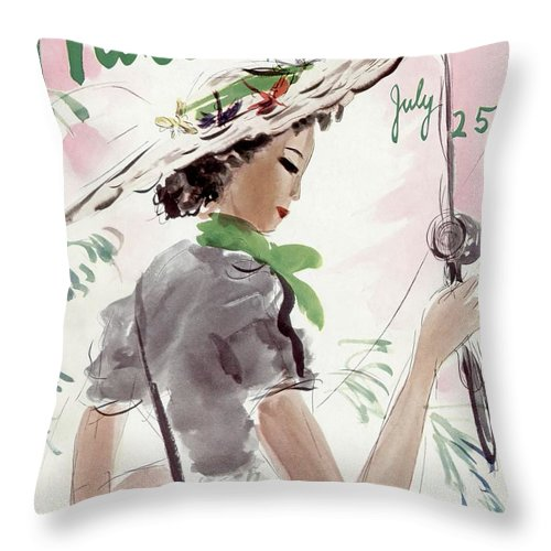 Illustration Throw Pillow featuring the photograph Mademoiselle Cover Featuring A Woman Holding by Helen Jameson Hall