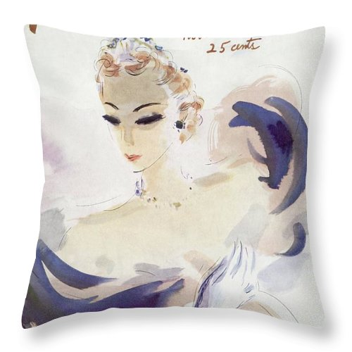 Fashion Throw Pillow featuring the photograph Mademoiselle Cover Featuring A Woman In A Gown by Helen Jameson Hall