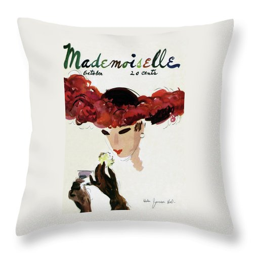 Illustration Throw Pillow featuring the photograph Mademoiselle Cover Featuring A Woman In A Red by Helen Jameson Hall