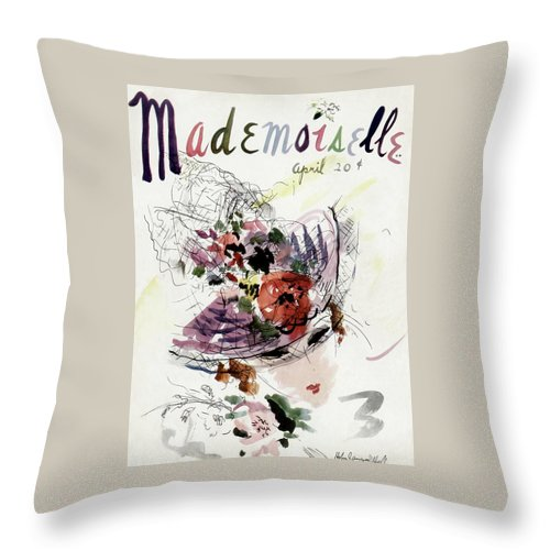 Fashion Throw Pillow featuring the photograph Mademoiselle Cover Featuring An Illustration by Helen Jameson Hall