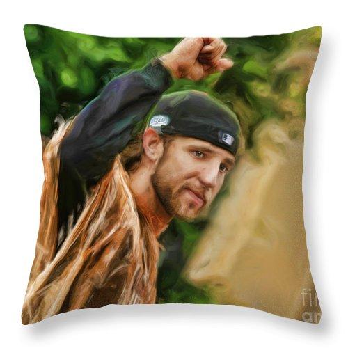 Madison Bumgarner Throw Pillow featuring the photograph Madison Bumgarner 2014 World Series MVP by Blake Richards