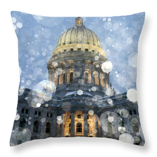 Snow Throw Pillow featuring the photograph Madisonian Winter by Todd Klassy