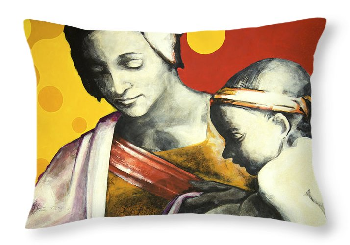 Figurative Throw Pillow featuring the painting Madona by Jean Pierre Rousselet