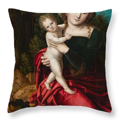 Mary Throw Pillow featuring the painting Madonna And Child by Master of the Parrot
