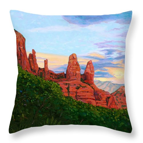 Madonna Throw Pillow featuring the painting Madonna And Nuns - Sedona by Steve Simon