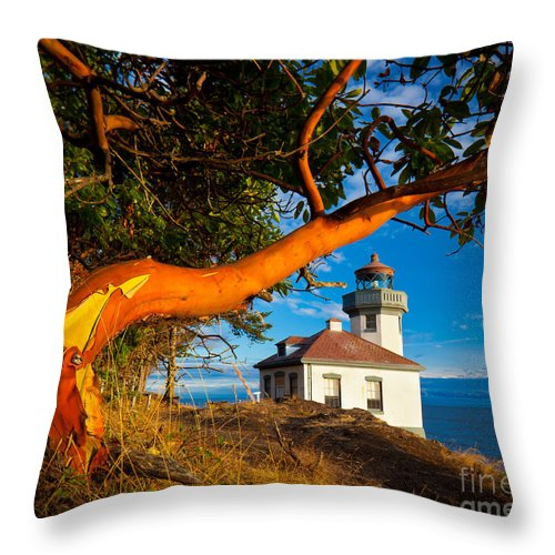 America Throw Pillow featuring the photograph Madrone And Lighthouse by Inge Johnsson