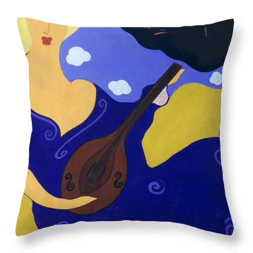 #mandolin Throw Pillow featuring the painting Magdelinas Song by Jacquelinemari
