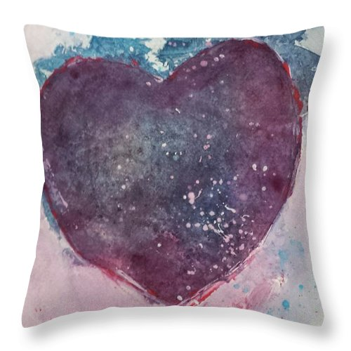 Heart Throw Pillow featuring the painting Magenta Heart by Sherry Harradence