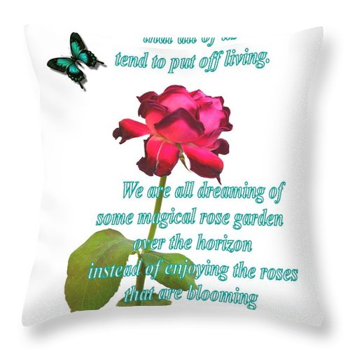 Flower Throw Pillow featuring the photograph Magenta Red Rose With Butterfly And Quote by Ion vincent DAnu