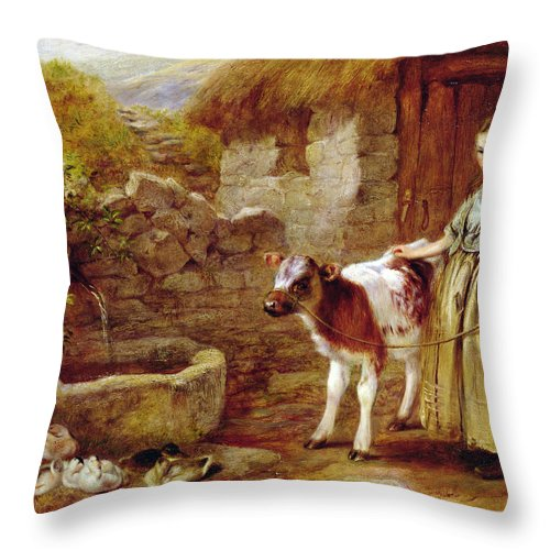 Cow Throw Pillow featuring the painting Maggie's Charge by John H Dell