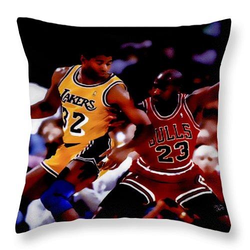 Michael Jordan Throw Pillow featuring the digital art Magic And Jordan At Work by Brian Reaves