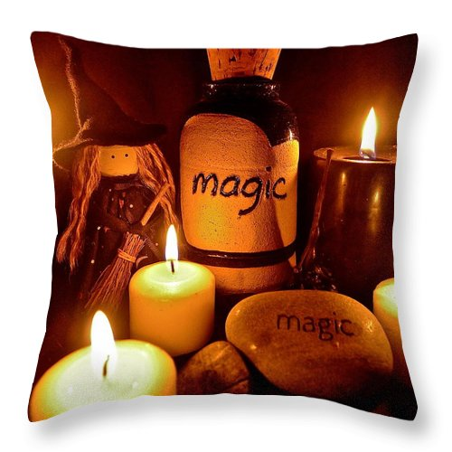 Witch Throw Pillow featuring the photograph Magic by Denise Mazzocco