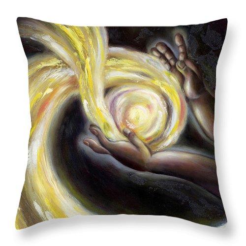 Angel Throw Pillow featuring the painting Magic by Hiroko Sakai