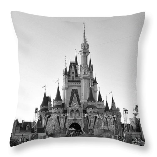 Medium Castle Decoration: Magic Kingdom Castle In Black And White Throw Pillow For