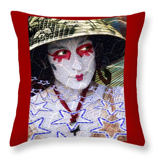Stars Throw Pillow featuring the digital art Magic Lady Goddess by Keith Dillon