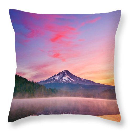 Trillium Lake Throw Pillow featuring the photograph Magic Morning by Darren White