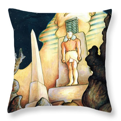 Sphinx Throw Pillow featuring the painting Magic Vegas Sphinx - Fantasy Art by Peter Potter
