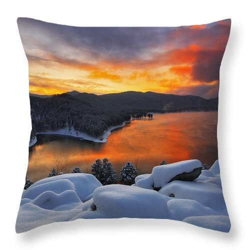 Aerial Throw Pillow featuring the photograph Magic Sunset by Kadek Susanto