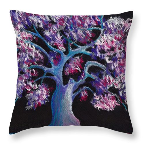 Malakhova Throw Pillow featuring the drawing Magic Tree by Anastasiya Malakhova