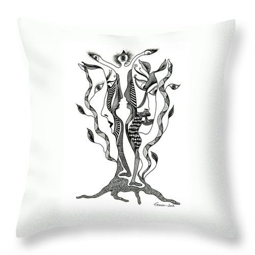Genia Throw Pillow featuring the drawing Magic Tree by Genia GgXpress