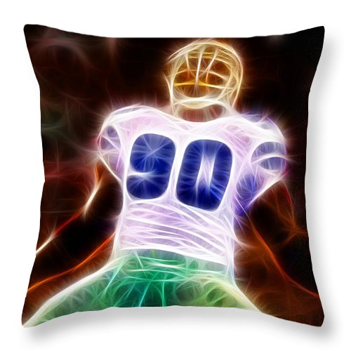 Jay Ratliff Throw Pillow featuring the painting Magical Jay Ratliff by Paul Van Scott