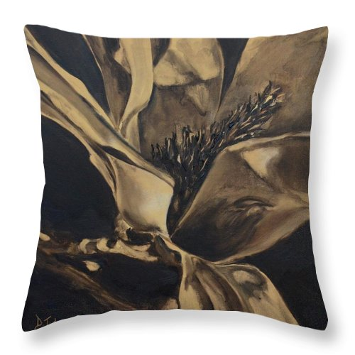 Sepia Throw Pillow featuring the painting Magnolia Blossom In Sepia by Donna Tuten