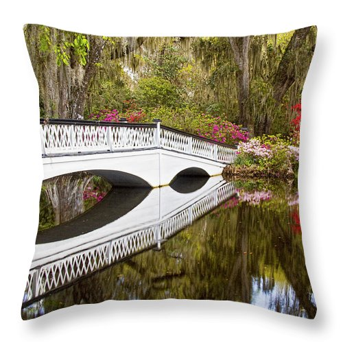 Nature Throw Pillow featuring the photograph Magnolia Gardens' Bridge by Sharon M Connolly