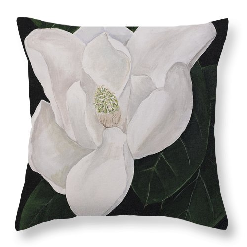 Magnolia Throw Pillow featuring the painting Magnolia by Virginia McLaren