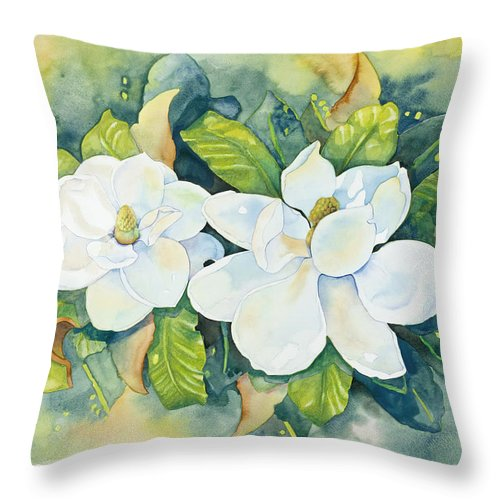 Flowers Throw Pillow featuring the painting Magnolias by Cathy Locke