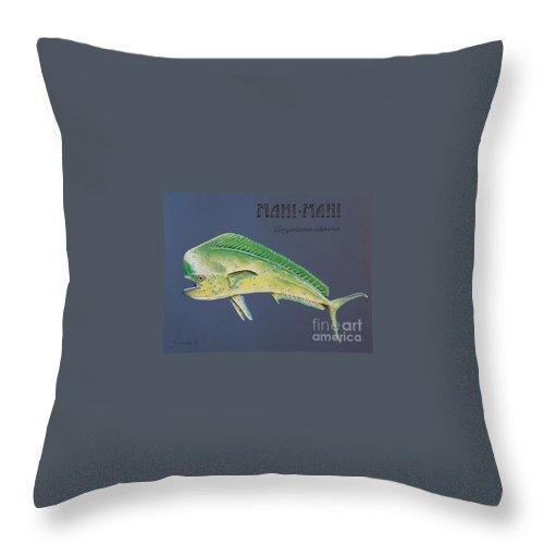 Mahi Mahi Throw Pillow featuring the pastel Mahi-mahi by Katharina Filus