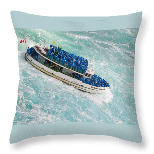 Blue Throw Pillow featuring the photograph Maid Of The Mist At Niagara Falls by Ben and Raisa Gertsberg