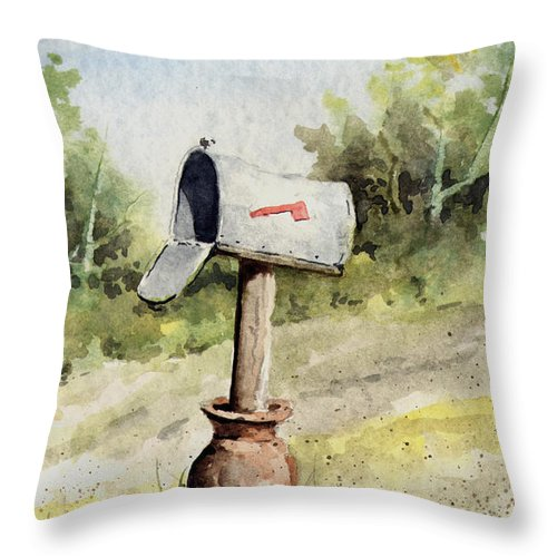 Mail Throw Pillow featuring the painting Mailbox by Sam Sidders