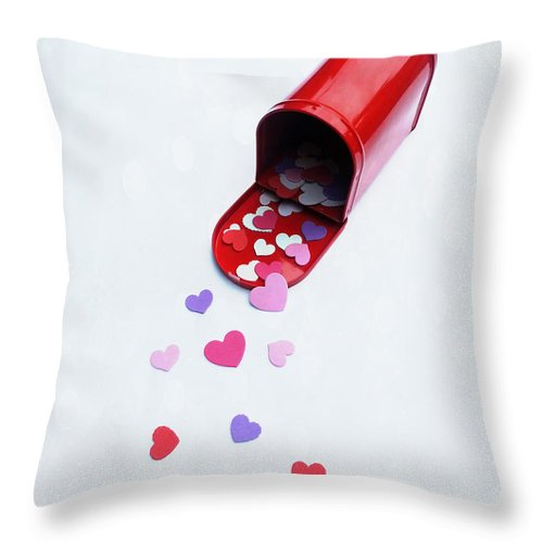 Valentines Day Throw Pillow featuring the photograph Mailing You Love by Diana Haronis