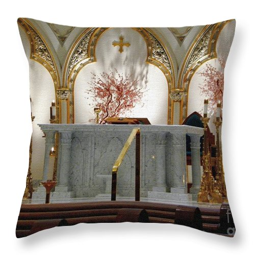 Saint Joseph's Cathedral Throw Pillow featuring the photograph Main Altar Saint Jospehs Cathedral Buffalo New York by Rose Santuci-Sofranko