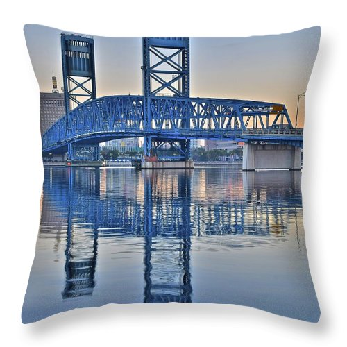 Main Throw Pillow featuring the photograph Main Street Bridge Jacksonville Florida by Frozen in Time Fine Art Photography