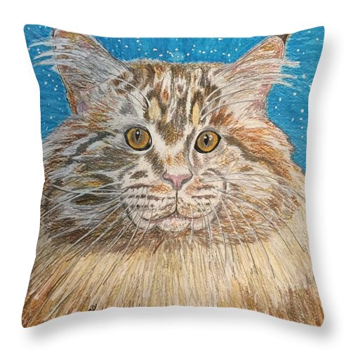 Maine Throw Pillow featuring the painting Maine Coon Cat by Kathy Marrs Chandler